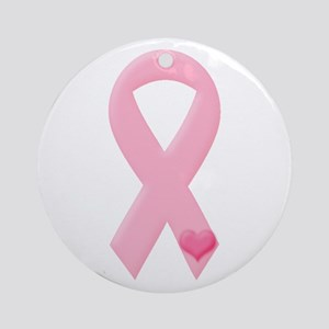 Pink Ribbon & Heart Ornament (Round)