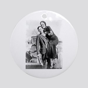Bonnie and Clyde Round Ornament