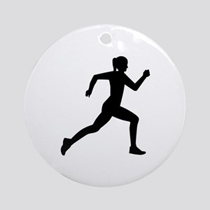 Running woman girl Round Ornament