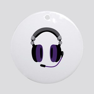 Video Gamer Headset Ornament (Round)