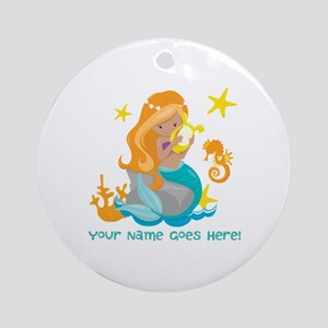 Blond Mermaid Round Ornament