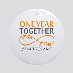 Gift For 1st Wedding Anniversary Ornament (Round)