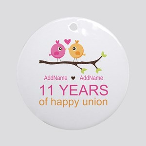 11th Anniversary Personalized Ornament (Round)