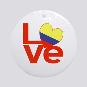 Red Colombia LOVE Round Ornament