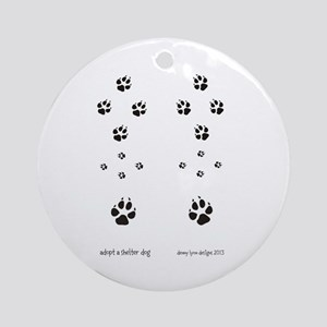 Paw Prints Dog Adoption Ornament (Round)