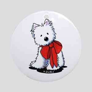 Red Ribbon Westie Ornament (Round)