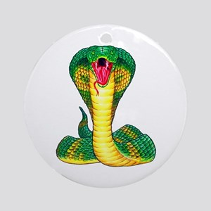 Cobra Snake Tattoo Art Ornament (Round)