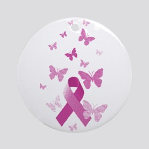 Pink Awareness Ribbon Ornament (Round)