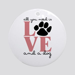 Love And A Dog Ornament (Round)