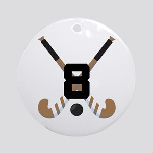 Field Hockey Number 8 Ornament (Round)