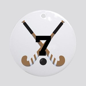 Field Hockey Number 7 Ornament (Round)
