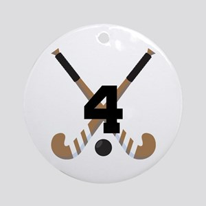 Field Hockey Number 4 Ornament (Round)