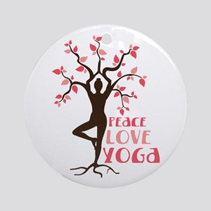 PEACE LOVE YOGA Ornament (Round)