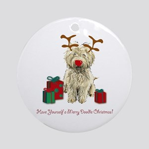Merry Doodle Christmas Ornament (Round)