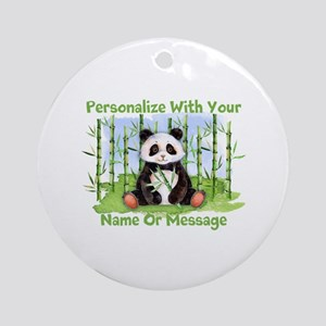 Personalized Panda Bamboo Round Ornament