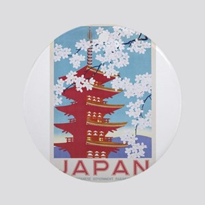 Pagoda, Japan, Travel, Vintage Poster Round Orname
