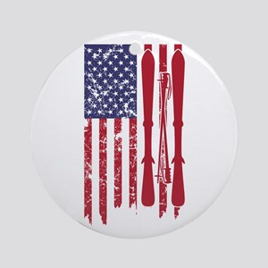 US flag with skis and ski poles as Round Ornament