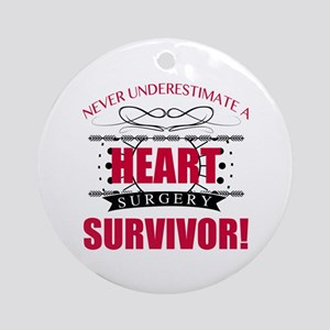 Heart Surgery Survivor Round Ornament
