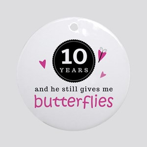 10th Anniversary Butterflies Ornament (Round)