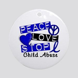 Peace Love Stop Child Abuse 1 Ornament (Round)