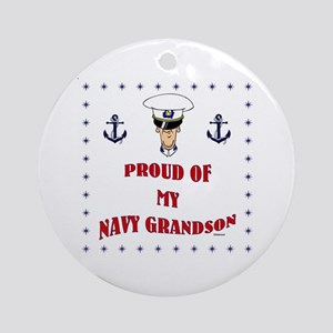 Proud Of My Navy Grandson Round Ornament