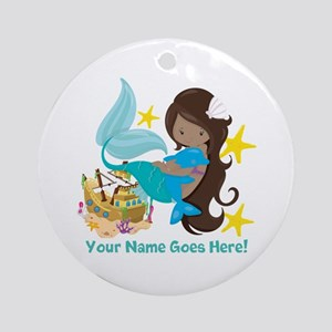 Brunette Mermaid Dolphin Round Ornament