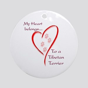 Tibetan Terrier Heart Belongs Ornament (Round)