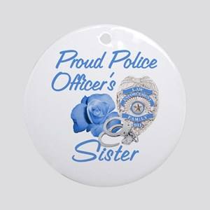 Blue Rose Police Sister Ornament (Round)