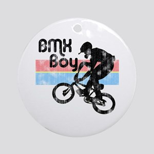 1980s BMX Boy Distressed Ornament (Round)