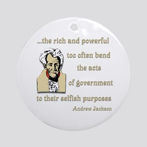 Andrew Jackson on the rich and powerful Ornament (