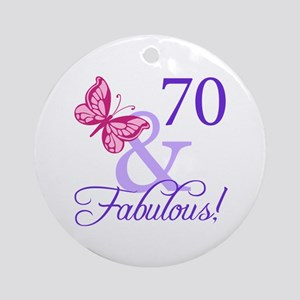 70th Birthday Butterfly Ornament (Round)