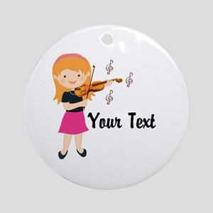 Personalized Violin Girl Ornament (Round)