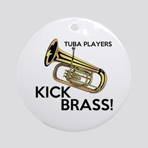 Tuba Players Kick Brass Ornament (Round)