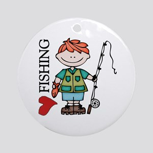 Redhead Boy Love Fishing Ornament (Round)