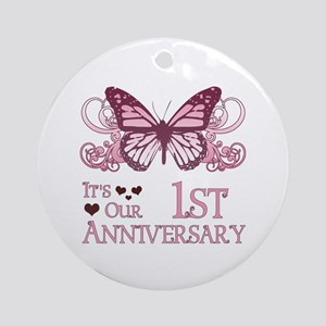 1st Wedding Aniversary (Butterfly) Ornament (Round