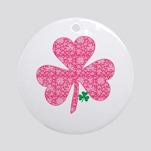 Pink Shamrocks Wee Green Ornament (Round)