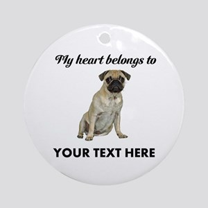 Personalized Pug Dog Ornament (Round)