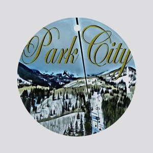 Park City Painted Poster Ornament (Round)