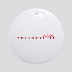 1955 T Bird Top on Script Red Ornament (Round)