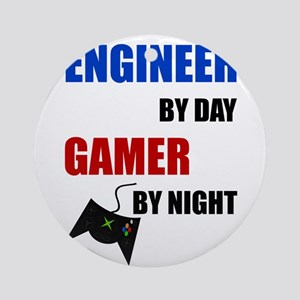 Engineer By Day Gamer By Night Round Ornament