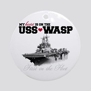 USS Wasp (Heart) Ornament (Round)