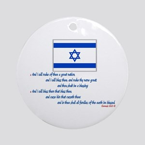 Gen 12: 2-3 Israel Flag - Ornament (Round)