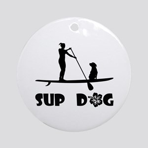 SUP Dog Sitting Ornament (Round)