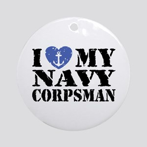 I Love My Navy Corpsman Ornament (Round)