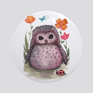 Purple Portly Owlet Ornament (Round)