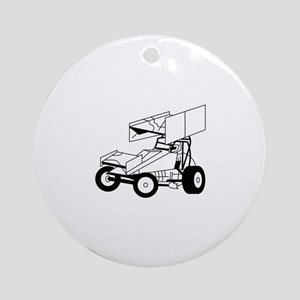 Sprint Car Outline Ornament (Round)