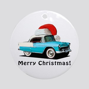 BabyAmericanMuscleCar_55BAXmas_skyblue Ornament (R