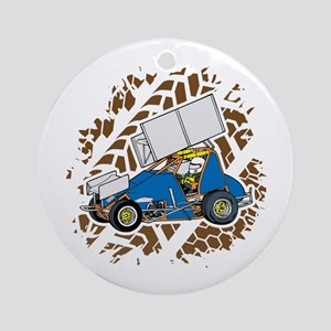 Sprint Car Racing Round Ornament