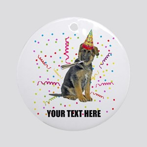 Custom German Shepherd Birthday Round Ornament