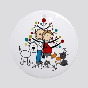 Expectant Couple 2 Cats Dog Round Ornament